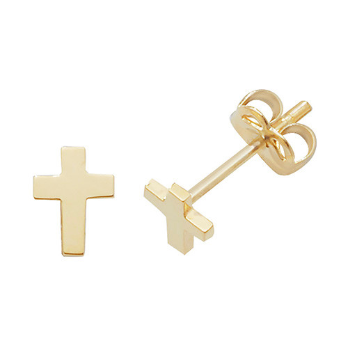 9ct Gold small plain cross stud Earrings 0.33g