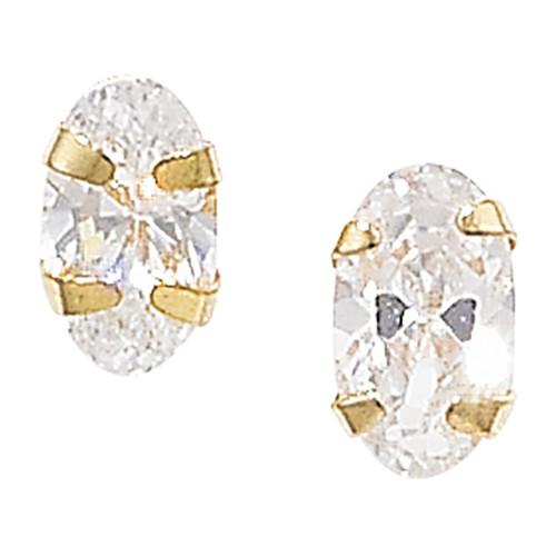 3mm x 5mm Oval Cubic Zirconia 9ct gold stud earrings