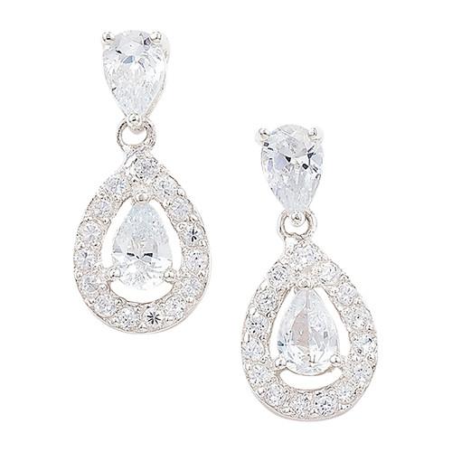 Sterling silver clear cubic zirconia double pear cut halo drop stud earrings