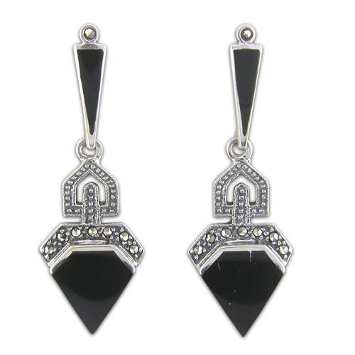 Sterling Silver Marcasite and Onyx Geometric Art Deco Style Drop Stud Earrings