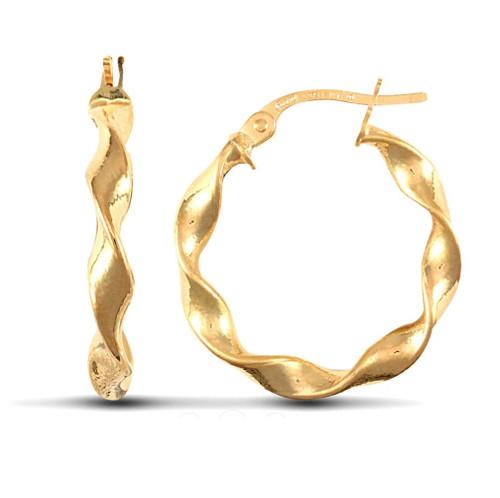 2cm Wide 9ct Yellow Gold Ribbon twist hoop Earrings 1g