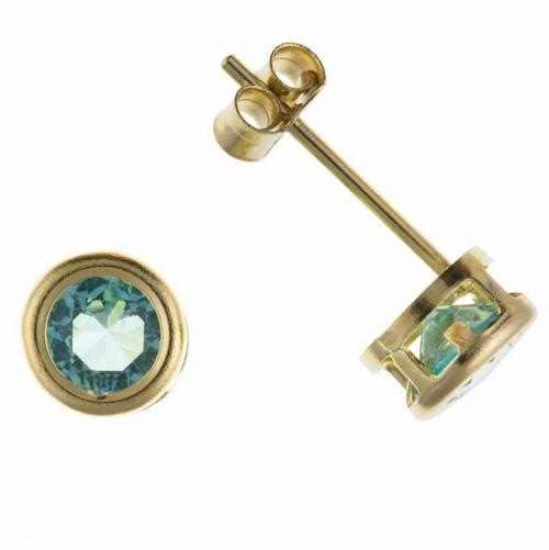 5mm 9ct Gold Round Aquamarine Cubic Zirconia Rubover stud earrings