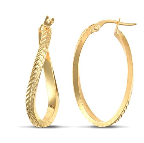9ct Gold Oval twist hoop Earrings 1.8g