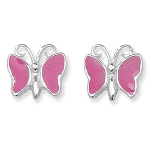 Sterling Silver pink enamelled Butterfly stud Earrings