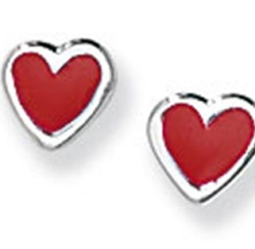 Sterling silver red enamelled heart shaped stud earrings