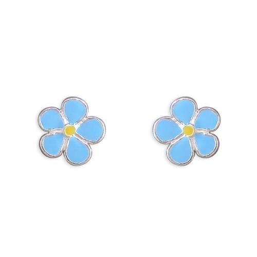 Sterling Silver Blue Enameled Small Flower stud earrings