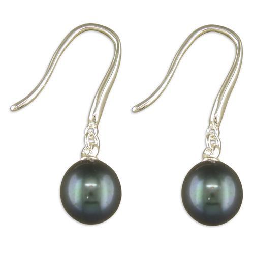 Sterling silver teardrop black freshwater pearl drop earrings