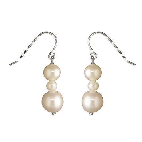 Sterling Silver triple white pearl hook in drop earrings