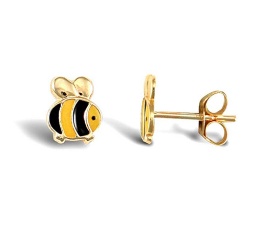 9ct Gold Enamel Bumble bee stud earrings