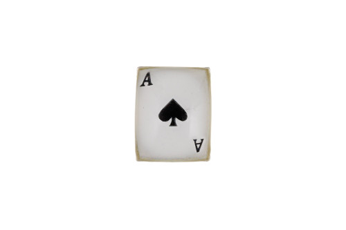 Mens Sterling Silver Single Gents Ace of Spades Playing Card stud earring