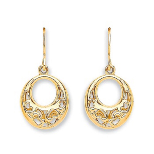 9Ct Gold oval filigree Style drop hook Earrings