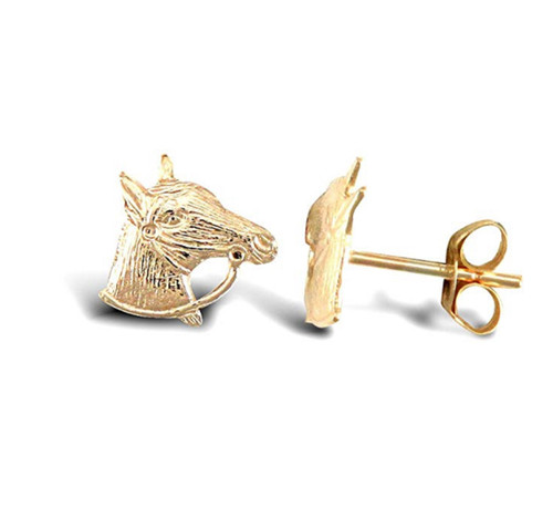 9ct Gold small Horse Head Stud Earrings