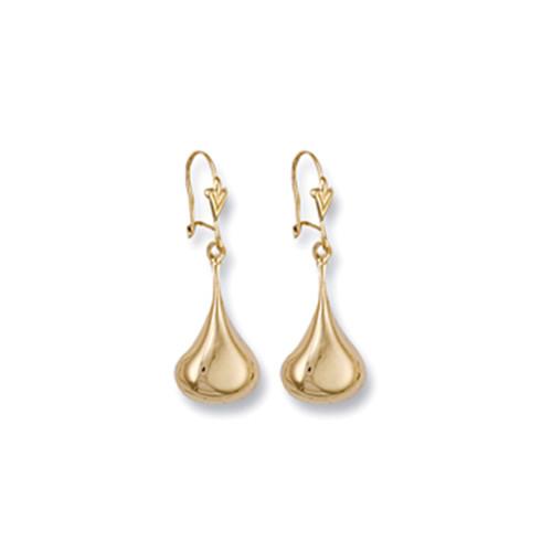 9ct Gold polished teardrop hook Drop Earrings