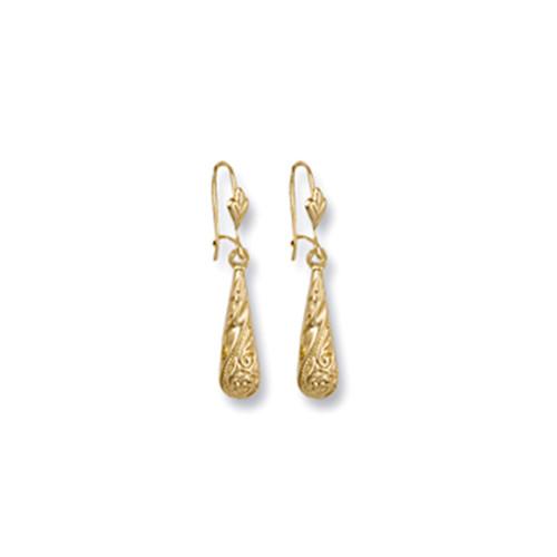 9ct Gold patterned droplet hook Drop Earrings 0.9g