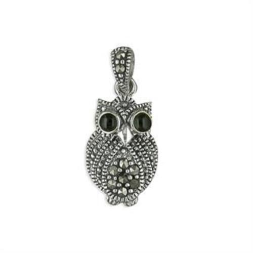Sterling SilverMarcasiteset owl pendant