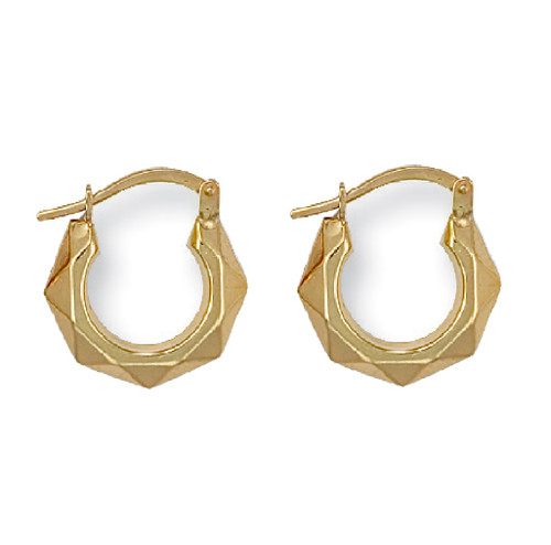 9Ct Gold Extra Small Faceted Creole Earrings 0.5g