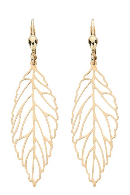 9ct Gold leaf hook in Drop Earrings 2g