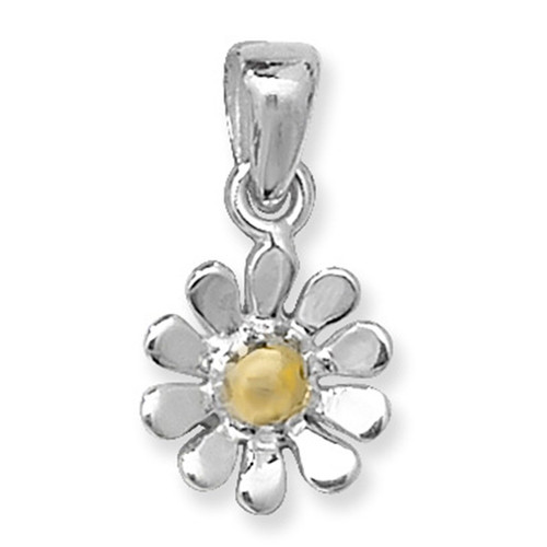 Sterling Silver two tone gold plated Daisy flower pendant