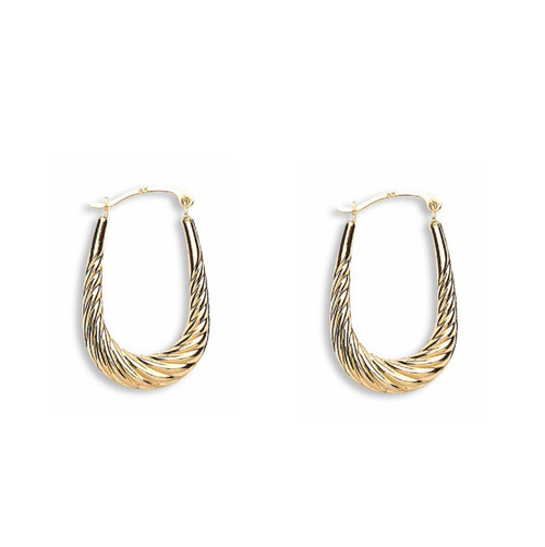 9ct Yellow Gold Ribbed Oval Creole Earrings