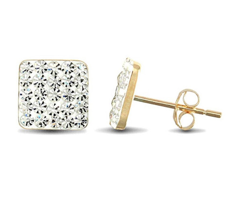 9ct Yellow Gold White Crystal Square Stud Earrings