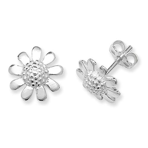 Sterling Silver plain Daisy stud earrings