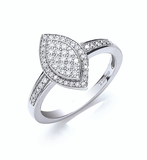 18ct white gold Marquis shaped pave 0.25ct diamond ring