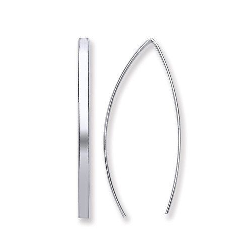 Sterling silver modern wishbone ear threader Earrings