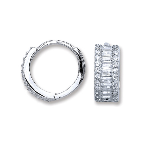 Sterling Silver Cubic Zirconia Huggy earrings