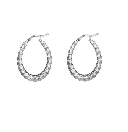 Sterling Silver Faceted Oval creole Earrings