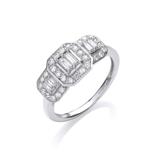 18ct white gold 0.5ct diamond baguette halo trilogy ring