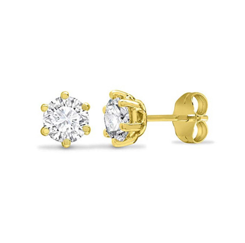 4mm 9ct Gold Heavyweight Round Cubic Zirconia stud earrings