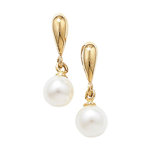 9ct Gold Synthetic pearl drop stud earrings