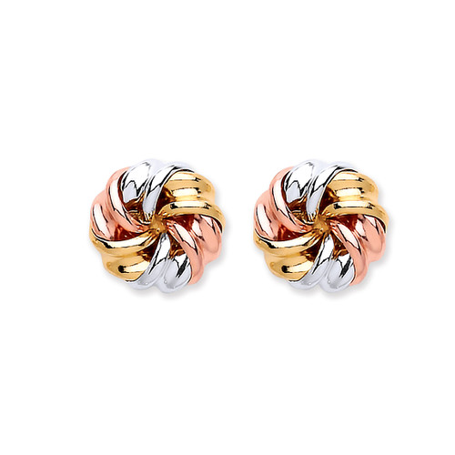 9ct Gold three colour Rose, yellow and white twisted knot stud earrings