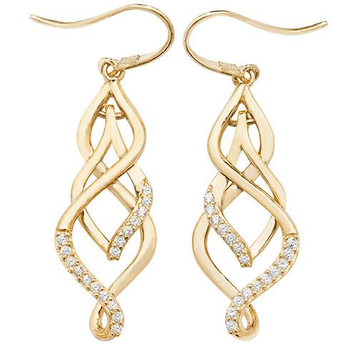 9ct Gold fancy twist Cubic Zirconia Hook in drop earrings