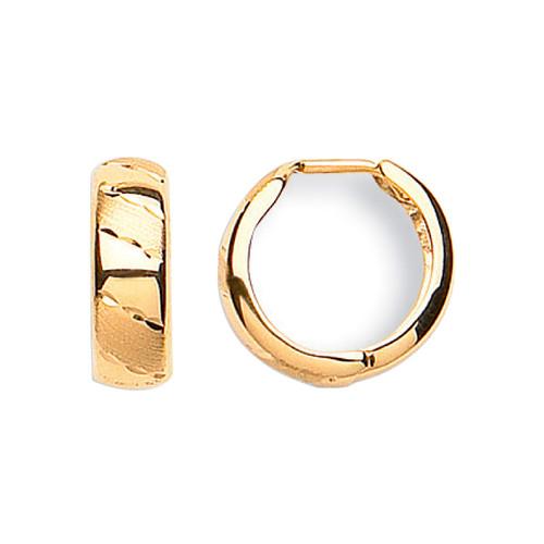 1.3cm wide 9ct gold Diamond cut Huggy Earrings 1.5g