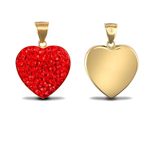 9ct Gold Red Crystal Love Heart Pendant
