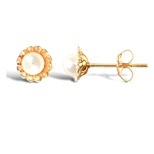 9ct Yellow Gold Freshwater Cultured Pearl Flower Stud Earrings