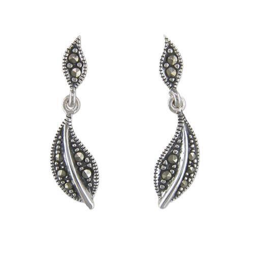 Sterling silver marcasite stud leaf drop earrings
