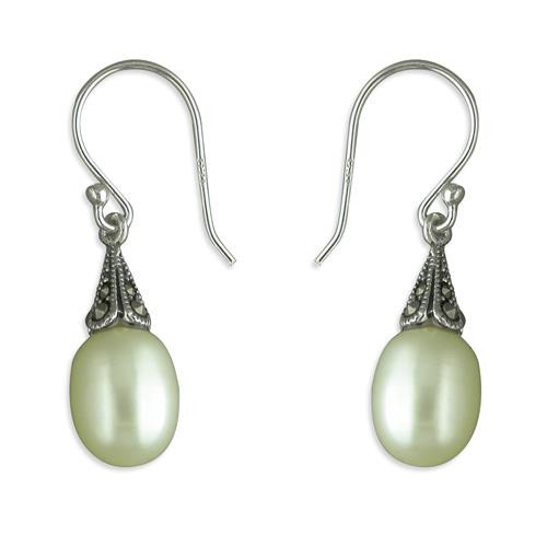 Sterling Silver Marcasite and Pearl Hook drop Earrings