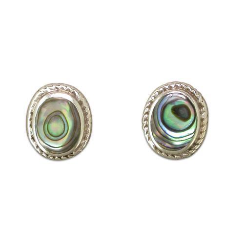 Sterling Silver Oval Paua Shell Stud Earrings