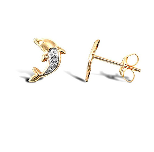 9ct Gold Cubic Zirconia Dolphin stud earrings