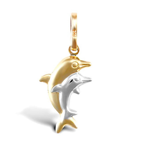 9ct Yellow and White Gold Dolphin Pair Charm Pendant