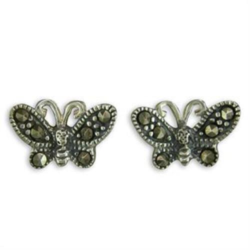 Sterling Silver Marcasite Butterfly Stud Earrings