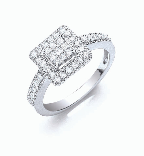 18ct white gold 0.5ct diamond pave square top with set shoulders ring