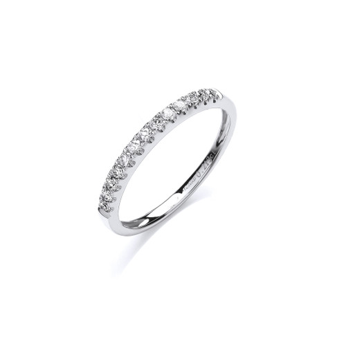 18ct White gold 0.2ct diamond half eternity ring