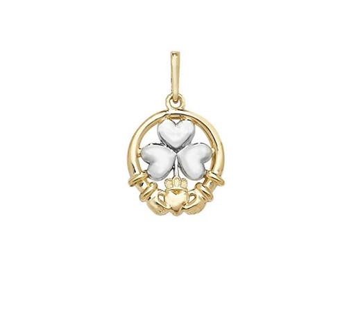 two colour 9ct Gold Shamrock in claddagh pendant