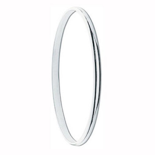 Sterling silver 4mm thick D-Shape Slave Bangle 7.5g