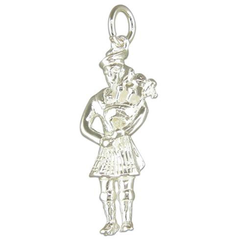 Sterling Silver Large Scottish Piper Charm