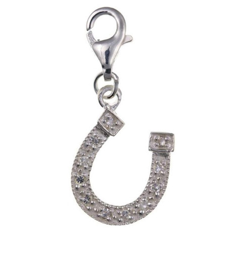 Sterling Silver Clip on Cubic Zirconia horseshoe charm