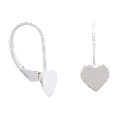 Sterling Silver heart Drop Earrings with a continental fitting